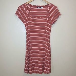 Urban Outfitters Lettuce Trim Striped Ribbed Dress